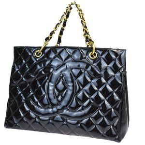 CHANEL CC GST Quilted Chain Hand Bag Patent Leathe